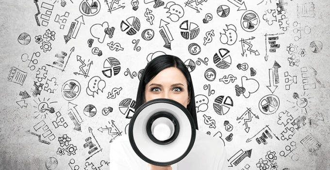 Employee Engagement Woman with Loudspeaker in Front of Face and Various Business Icons Floating Behind