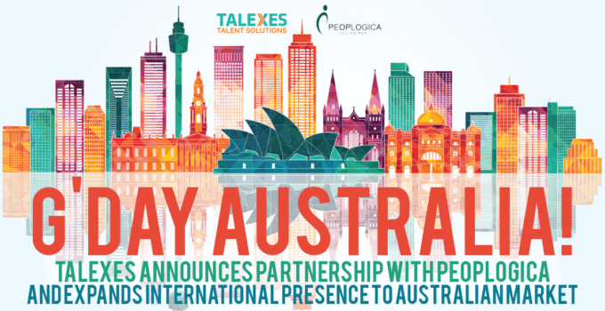 Multicolored Australia Skyline with Text Saying G'Day Australia and Talexes and Peoplogica Logos