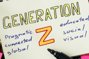 Generation Z Written on Notebook with Pragmatic Connected Global Educated Social Visual Written Around it