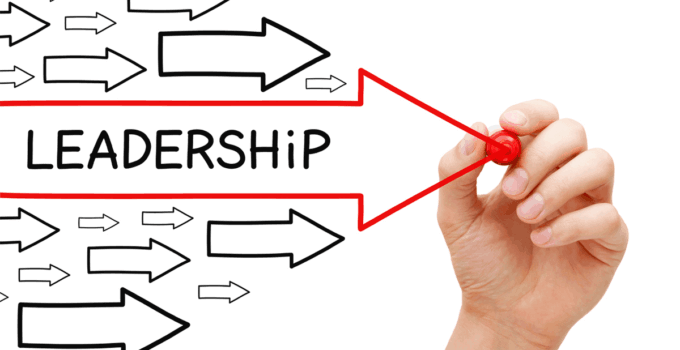 Hand Drawing Red Arrow with Leadership Written Inside Among Other Smaller Arrows
