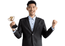 Happy Businessman Holding Trophy in Right Hand and Cheering