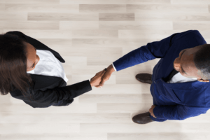View from Above of Handshake Between Business Professionals