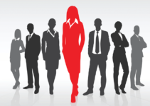 Greyed Out Silhouettes of Businesspeople in Shallow V Line with Woman in Front Highlighted in Red