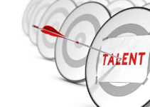Paper with Talent Typed in Red Taped to a Target and Arrow Penetrating Bullseye Through Paper