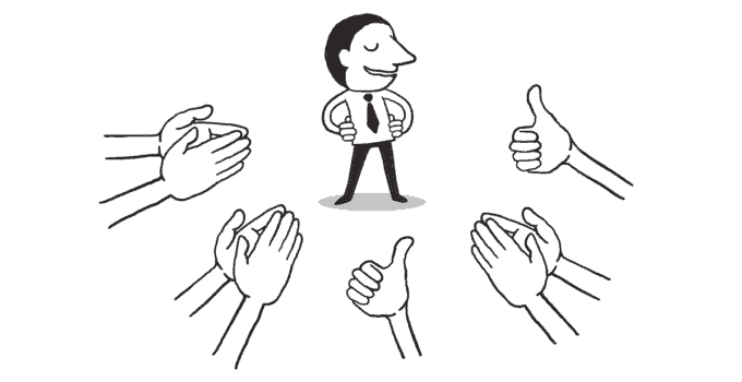Happy Line Drawing Businessman With Hands Surrounding Him Clapping and Giving Thumbs Up