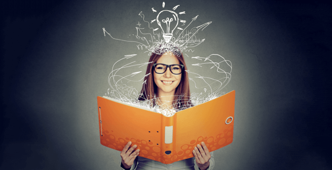 Smiling Woman With Glasses Reading Book with Abstract Lines Extending to Her from the Book and Line Art Light Bulb Above Her Head