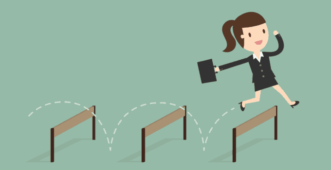 Animated Businesswoman Jumping Over Third Hurdle in Line on Light Green Background