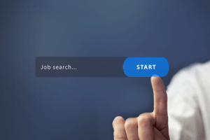 Job Search Address Bar Hovering in Front of Woman who is Clicking Start