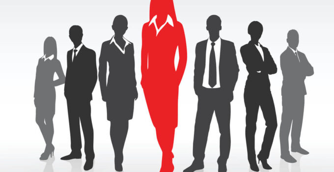 Greyed Silhouettes of Office Workers with Woman in Front Highlighted in Red